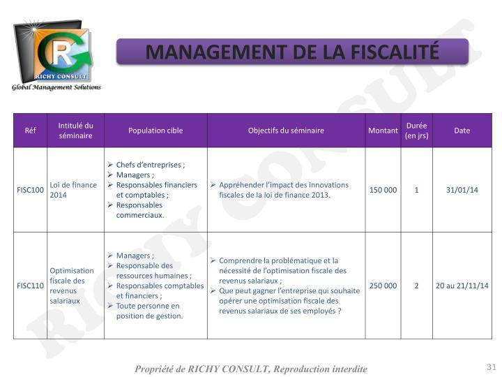 MANAGEMENT DE LA FISCALITÉ