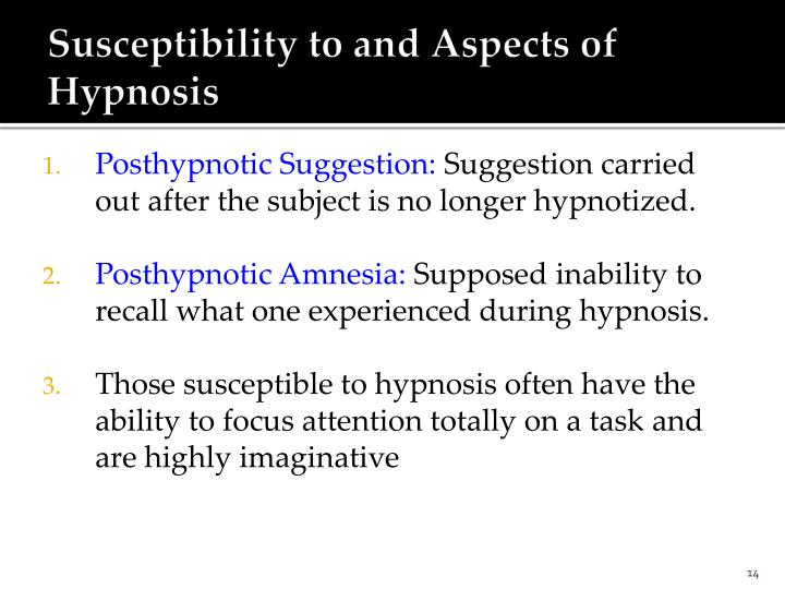 Susceptibility to and Aspects