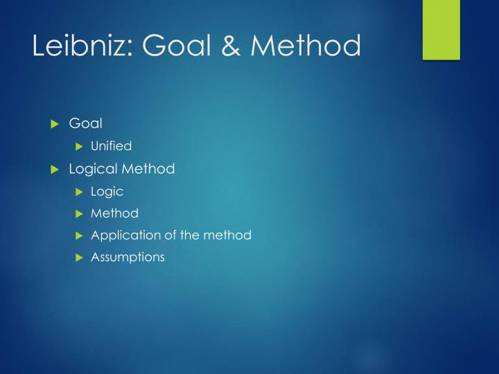 Leibniz: Goal & Method