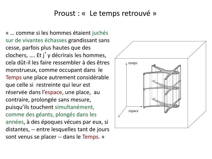 Proust : « Le temps retrouvé»