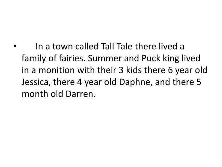 In a town called Tall Tale there lived a family of fairies. Summer and Puck king lived in a monitio...