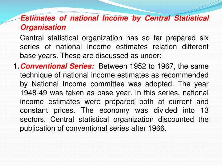 Estimates of national Income by Central Statistical