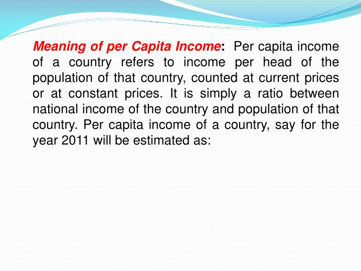 Meaning of per Capita Income