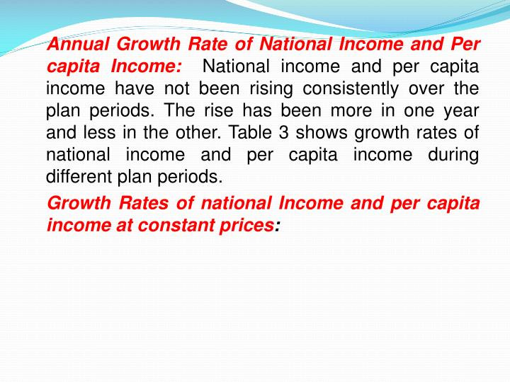 Annual Growth Rate of National Income and Per capita Income:
