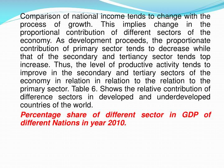 Comparison of national income tends to change with the process of growth. This implies change in the proportional contribution of different sectors of the economy. As development proceeds, the proportionate contribution of primary sector tends to decrease while that of the secondary and