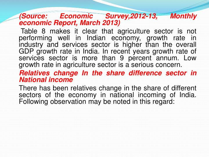 (Source: Economic Survey,2012-13, Monthly economic Report, March 2013)