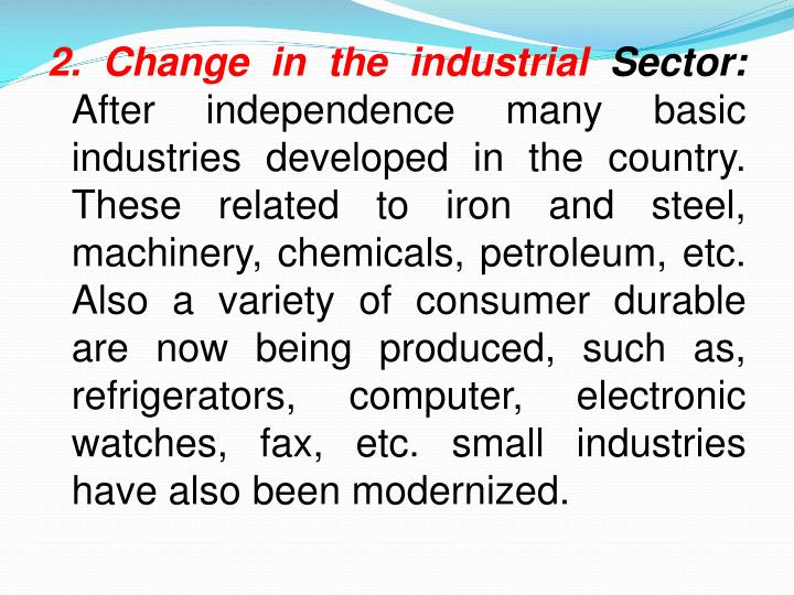 2. Change in the industrial