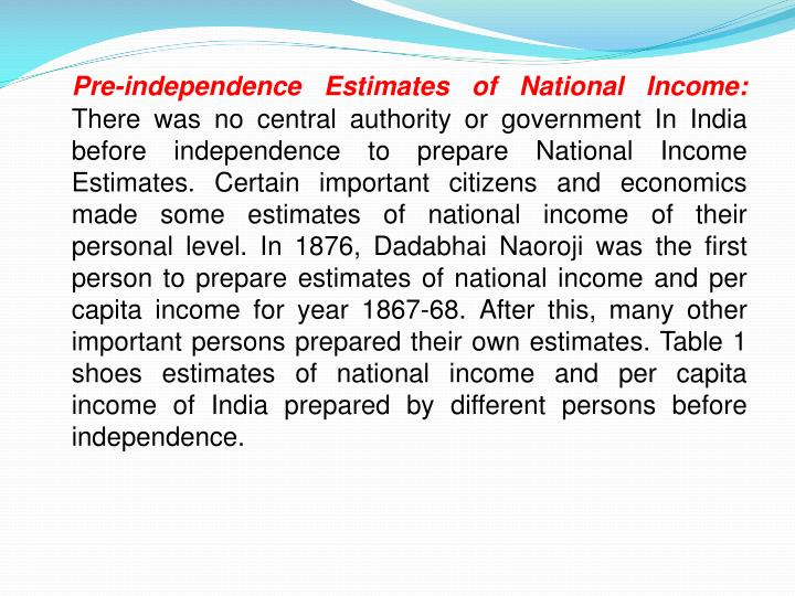 Pre-independence Estimates of National Income: