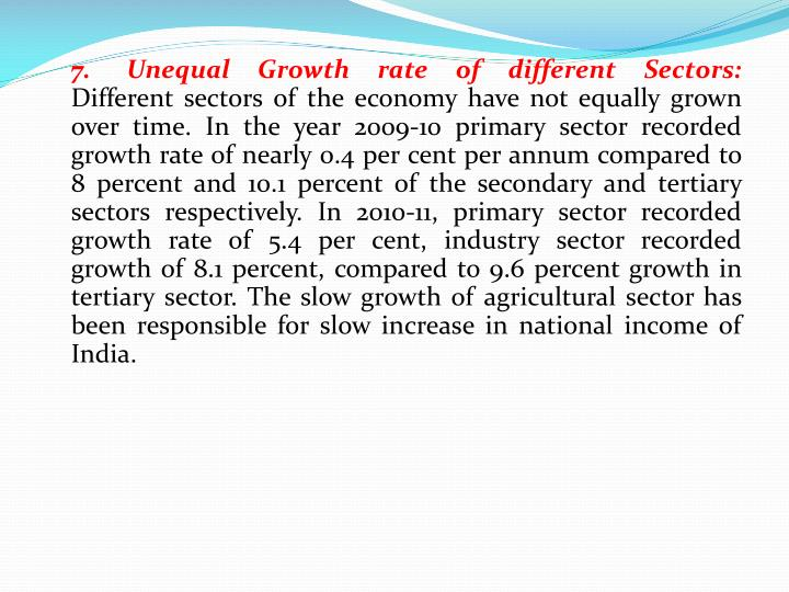 7.	Unequal Growth rate of different Sectors: