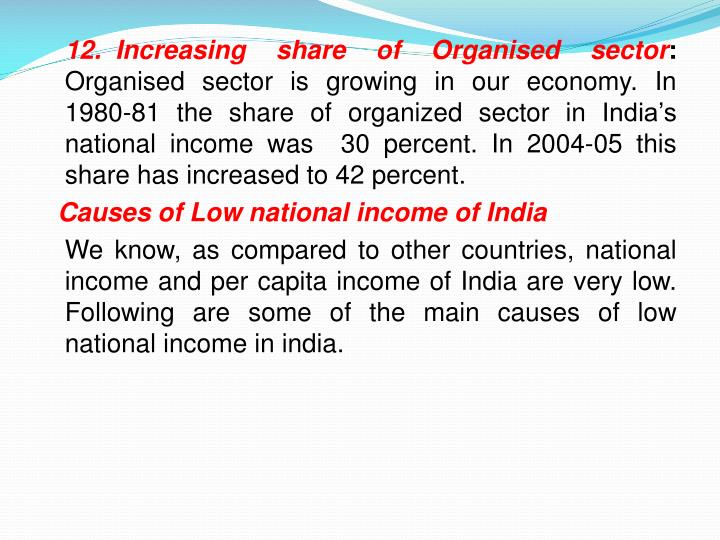 12.	Increasing share of
