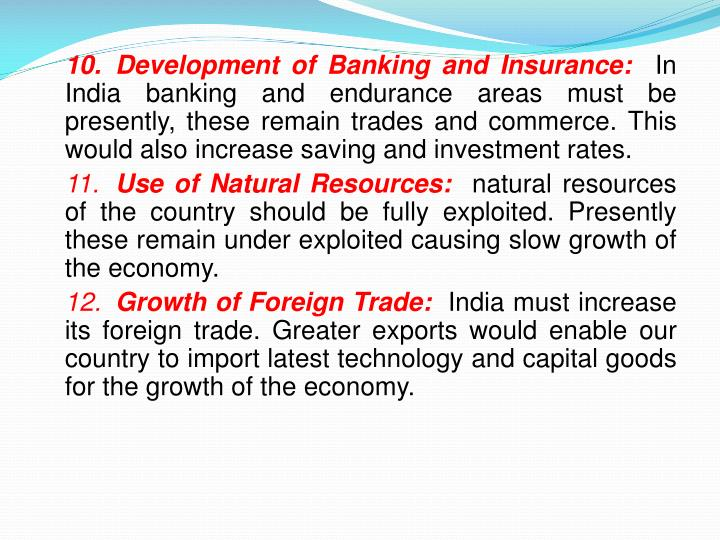 10.	Development of Banking and Insurance: