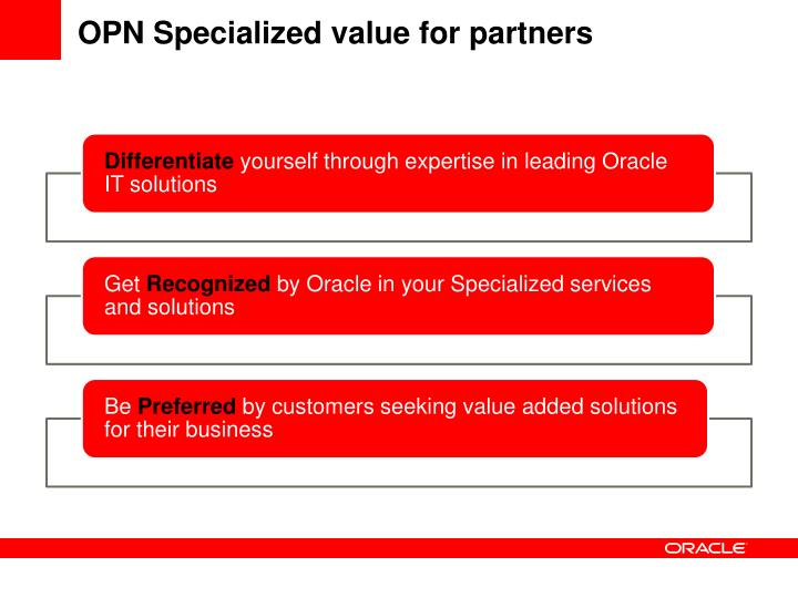 OPN Specialized value for partners