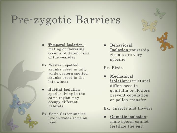 Pre-zygotic Barriers