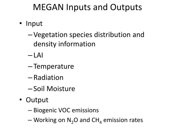 MEGAN Inputs and Outputs
