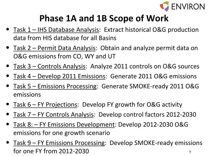 Phase 1A and 1B Scope of Work