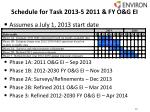 schedule for task 2013 5 2011 fy o g ei