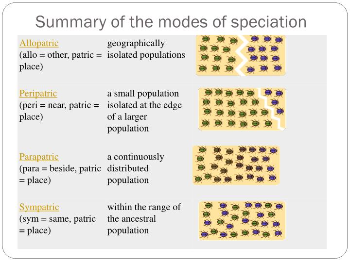 Summary of the modes of speciation