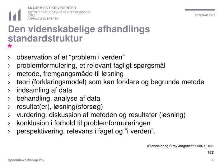Den videnskabelige afhandlings standardstruktur