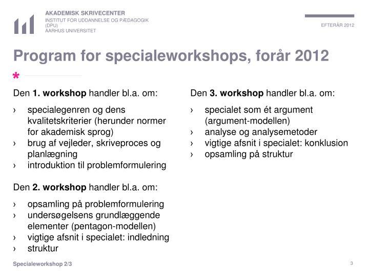 Program for specialeworkshops, forår 2012