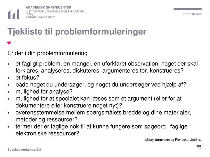 Tjekliste til problemformuleringer