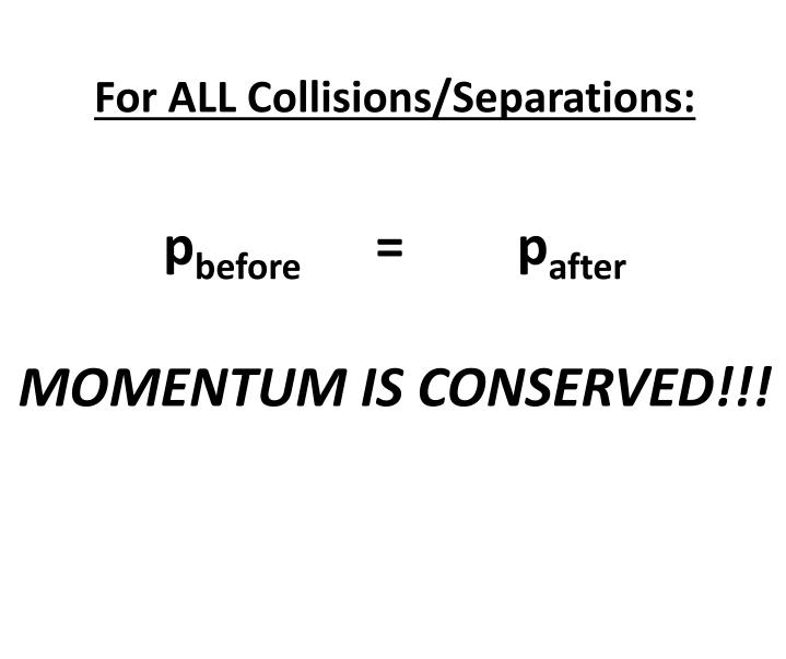 For ALL Collisions/Separations: