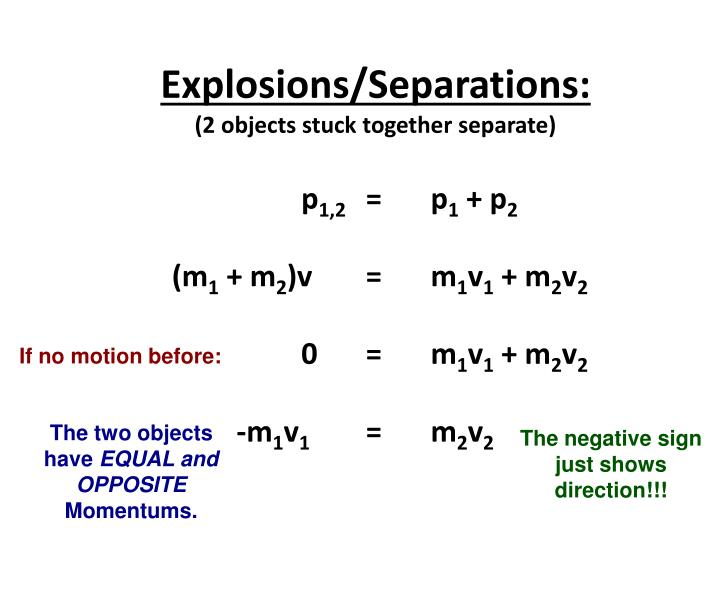 Explosions/Separations: