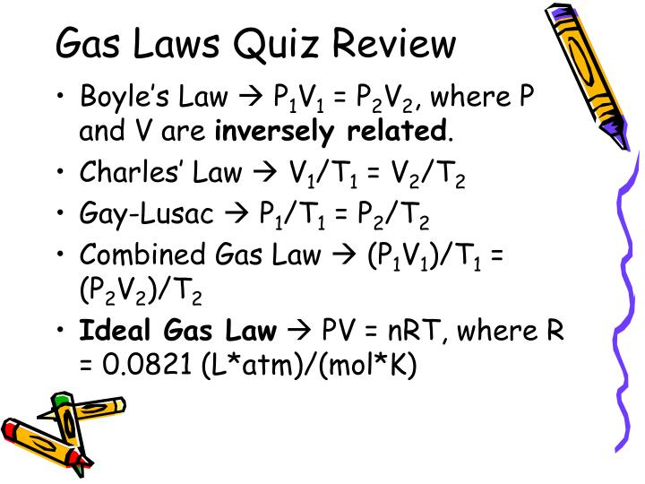 Gas Laws Quiz Review