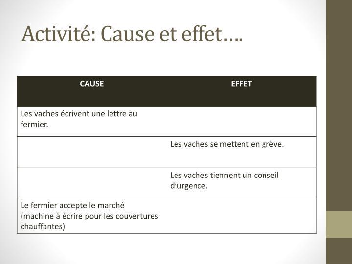 Activité: Cause et effet….
