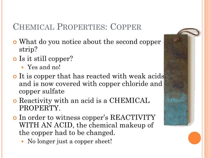 Chemical Properties: Copper