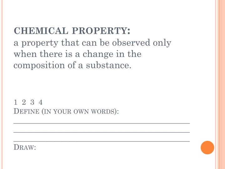 chemical property: