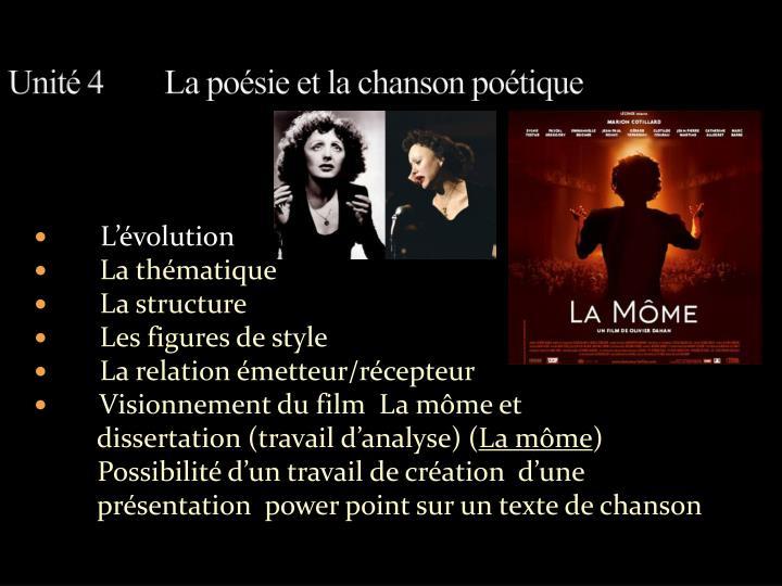 Unité 4La poésie et la chanson poétique