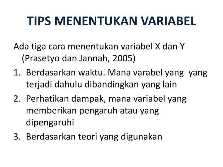 TIPS MENENTUKAN VARIABEL