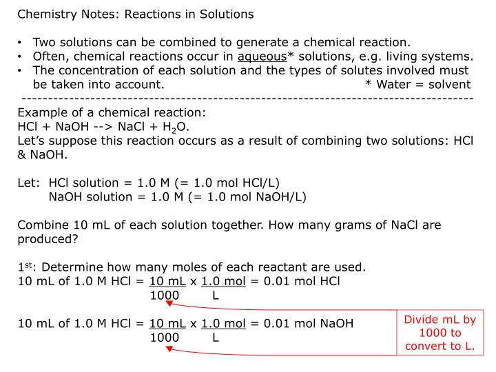 Chemistry Notes: Reactions in Solutions