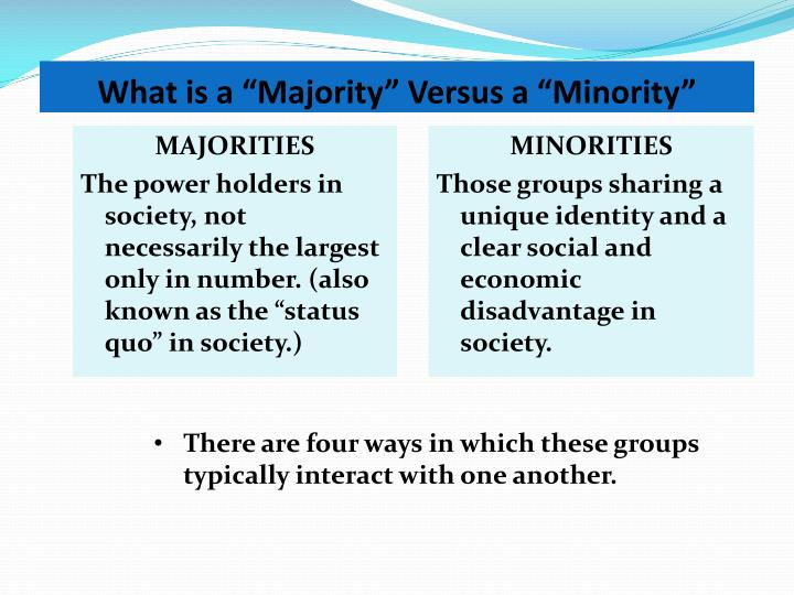 "What is a ""Majority"" Versus a ""Minority"""