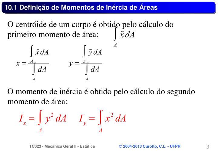 10.1 Definição de Momentos de Inércia de Áreas