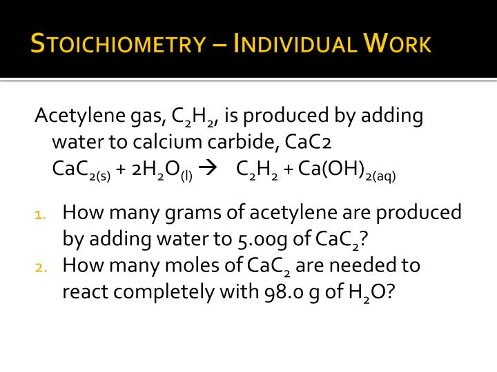 Stoichiometry – Individual Work