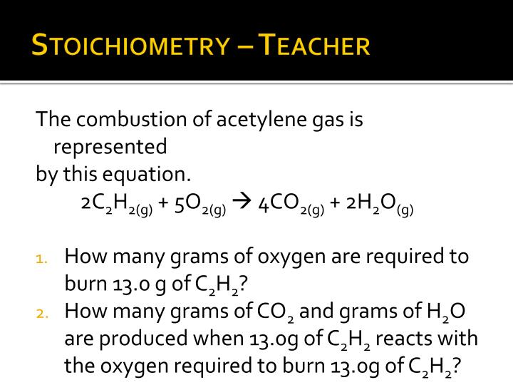 Stoichiometry – Teacher