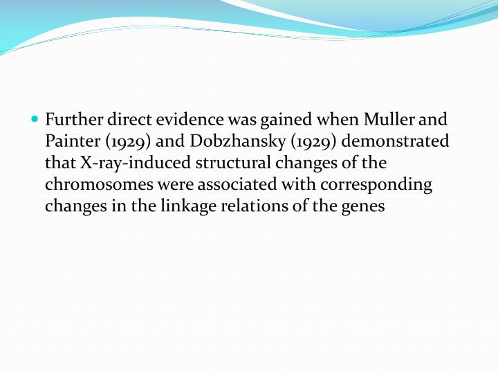 Further direct evidence was gained when Muller and