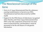 the neoclassical concept of the gene
