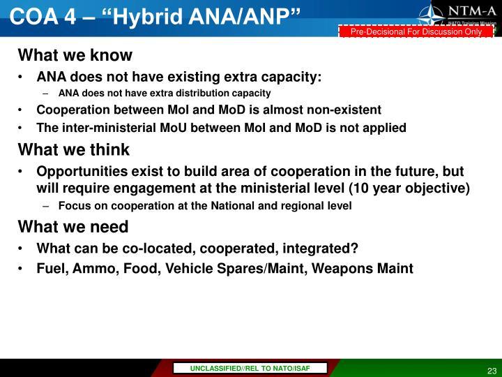 """COA 4 – """"Hybrid ANA/ANP"""""""