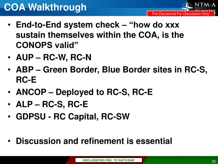 COA Walkthrough