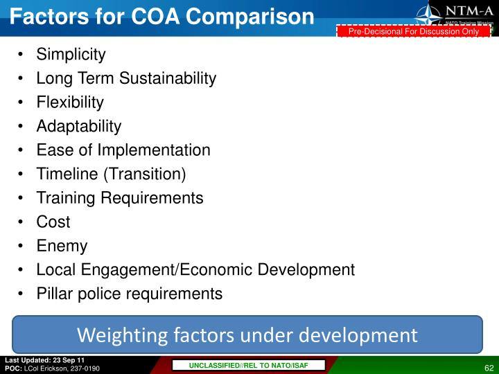Factors for COA Comparison