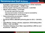 recommended staff actions