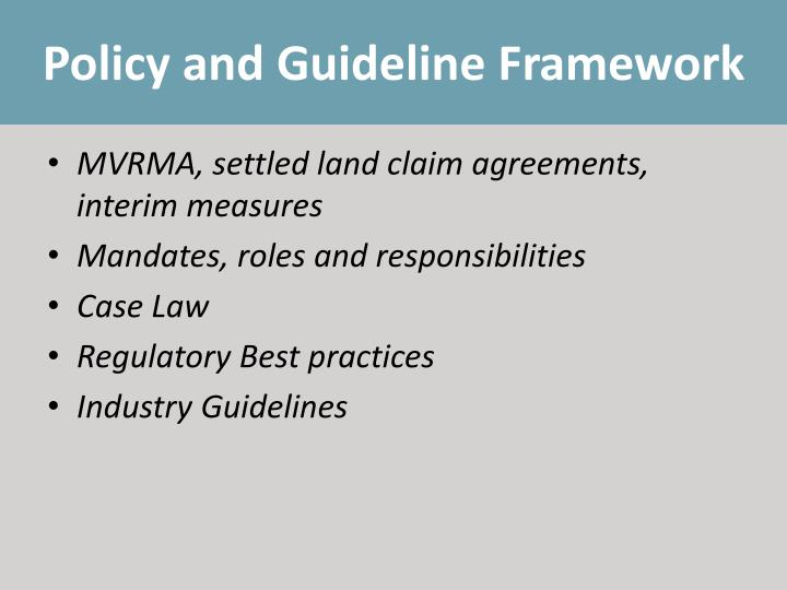 Policy and Guideline Framework