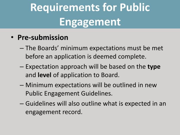 Requirements for Public Engagement