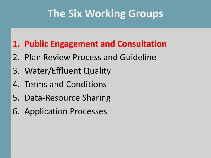 The Six Working Groups