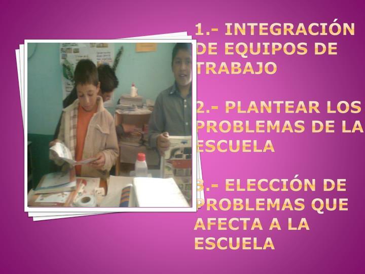 1.- INTEGRACIÓN DE EQUIPOS DE TRABAJO