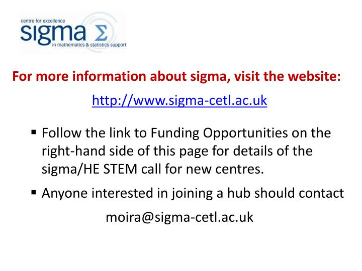 For more information about sigma, visit the website:
