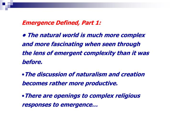 Emergence Defined, Part 1: