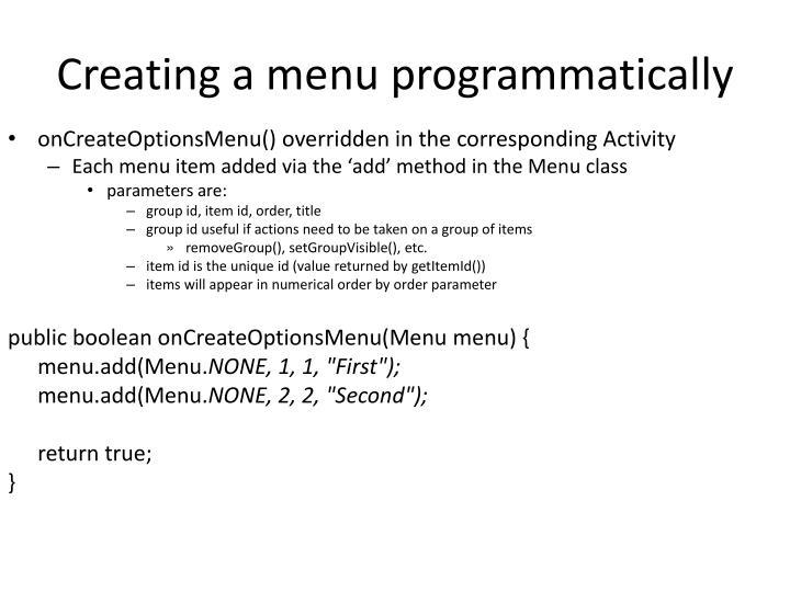 Creating a menu programmatically